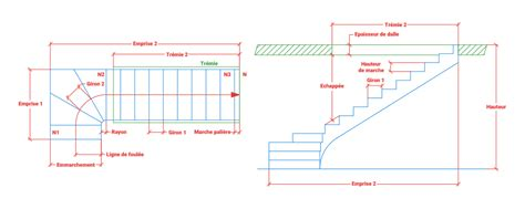 calculer les dimensions de votre escalier quart tournant
