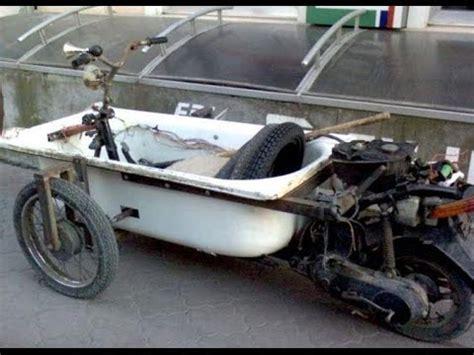 motard un motard russe sur une moto fait maison