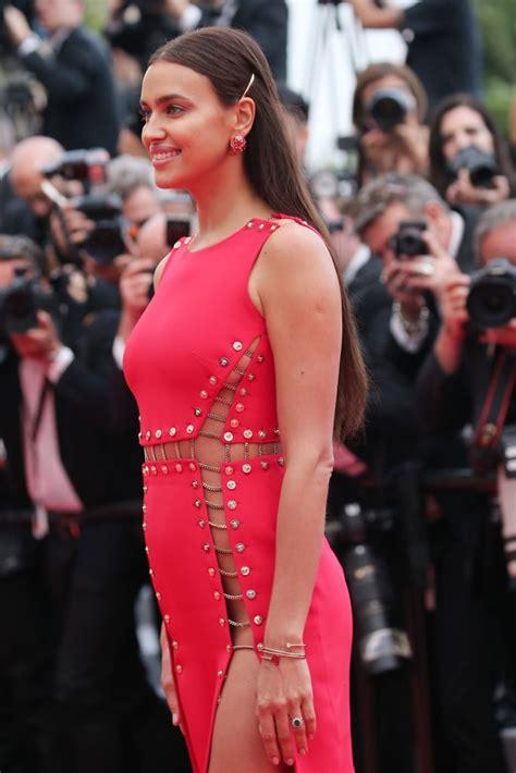 irina shayk red versace dress cannes  popsugar
