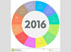 Circle Calendar For 2016 Year Stock Vector Illustration