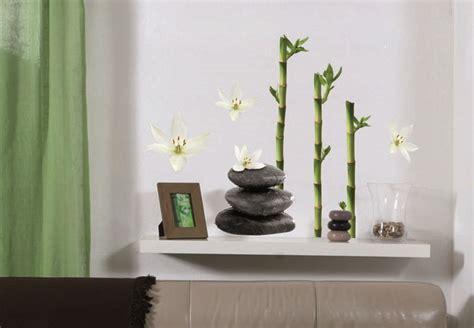 home 3d cuisine décoration galets fleurs de lotus et bambous stickers
