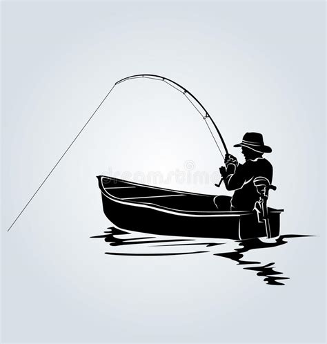 fisherman silhouette vector vector silhouette of a fisherman in a boat stock vector