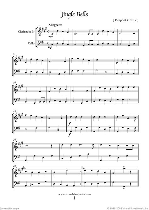 easy clarinet  cello duets sheet  songs