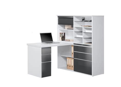 bureau et blanc bureau contemporain avec rangement blanc gris brillant