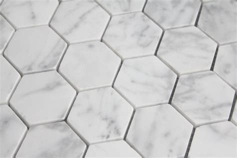 10 87sf carrara bianco honed 2 quot hexagon mosaic