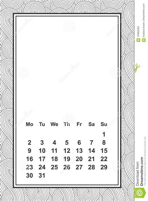 calendar month template hand vector template calendar for month 2 0 1 8 hand drawn