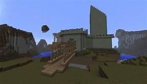 Mini Island Castle (w/ Lava Column) Minecraft Project