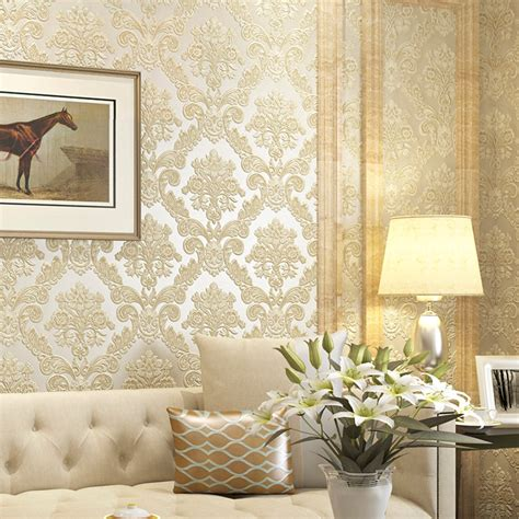 Victorian Yellow 3d Damask Wallpaper For Walls Vintage