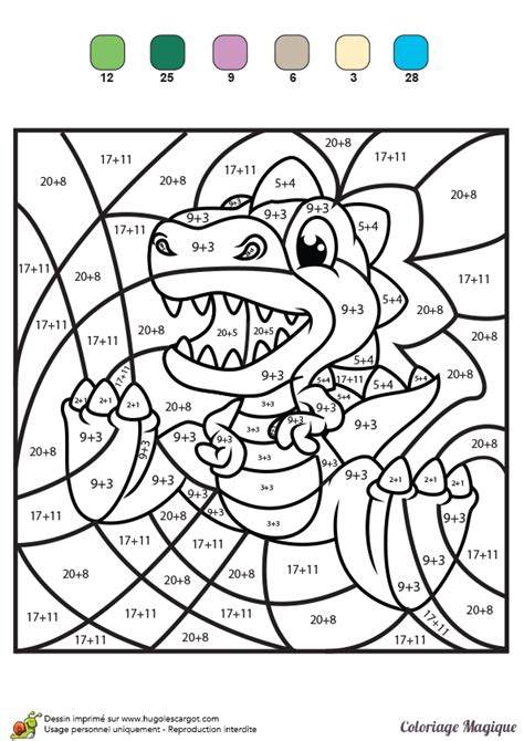 coloriage magique additions  petit tyranosaure rex