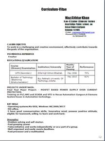 Fresher Resume Sles For Engineering Students by Resume Co Sle Resume Format In Word Doc For A B Tech Electronics Instrumentation