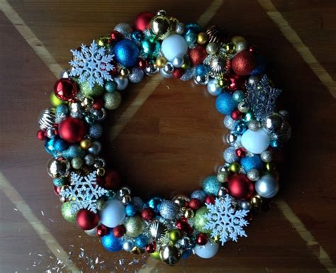 how to make wreath with christmas balls how to make a christmas wreath out of ornaments holidappy