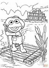 Coloring Pages Kermit Lake Elmo Sailing Raft Tom Sawyer Silhouettes Babies Muppet Printable Muppets Paper sketch template