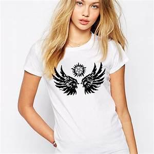 Handmade T Shirts Women Supernatural Wings Woman T Shirt ...