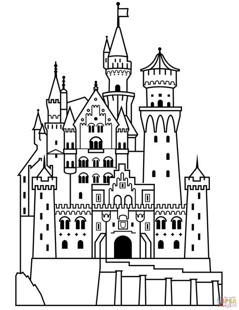 neuschwanstein castle coloring page  printable