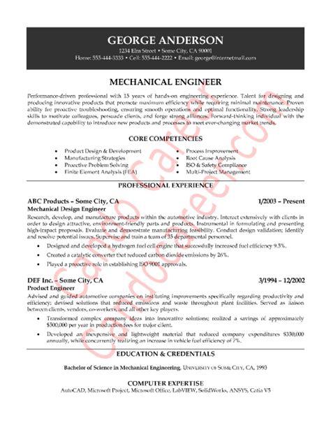 job resume  mechanical engineers