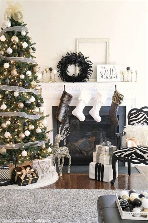 christmas decor  year black white gold