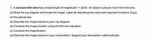 Solved  A Concave Thin Lens Has A Focal Length Of Magnitud