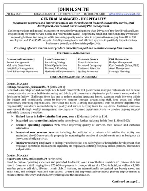 General Form Of A Resume by Hospitality Resume Templates For Free Formtemplate