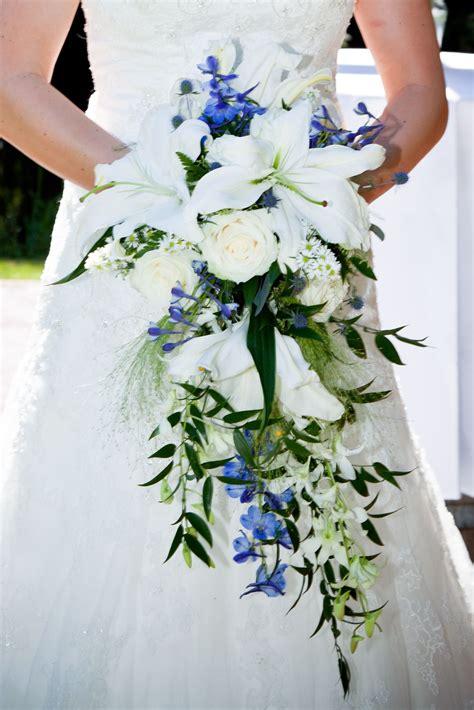 wedding bouquet cascading bridal bouquet  lilies