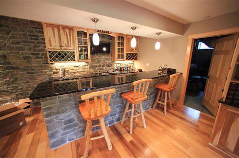 custom basement remodel hickory rustic home bar