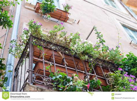 Balcony Sill by Window Sill With Flowers Bottom View Stock Photo Image