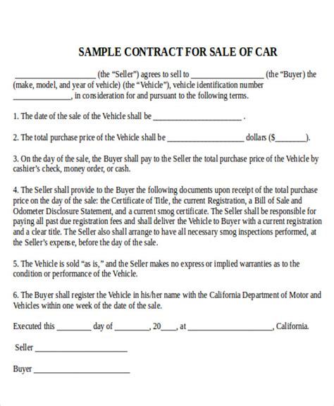 sample  car sale contract  examples  word