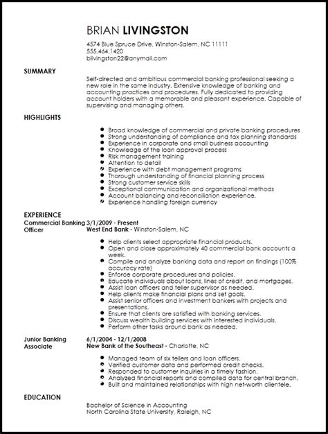 Commercial Banking Resume by Free Professional Banking Resume Template Resumenow