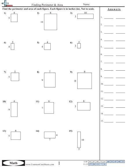 4th grade 187 area and perimeter worksheets 4th grade