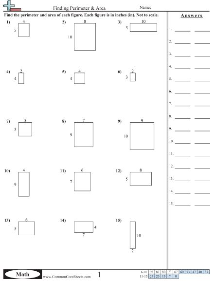 Area & Perimeter Worksheets  Free Commoncoresheets