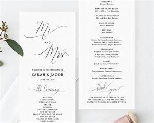 Wedding Program Template Printable Wedding Program Mr