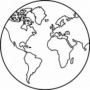Black And White Outline Of Planet Earth