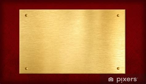 gold plate  plaque  red background wall mural pixers