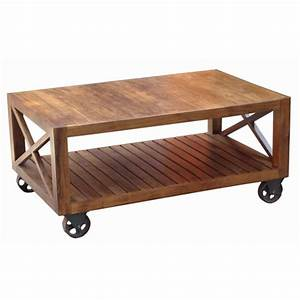acacia wood industrial style coffee table on wheels With industrial style coffee table with wheels