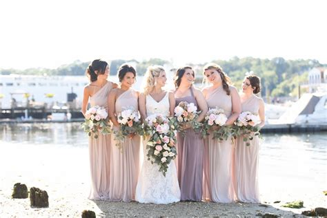 biscotti color colored bridesmaid dresses biscotti and portobello