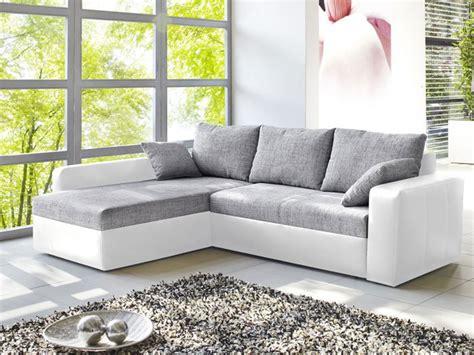Ecksofa Vida 244x174cm Grau Weiss, Schlafsofa Sofa Couch