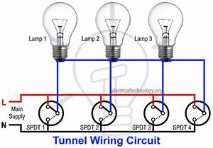 Tunnel Wiring Circuit Diagram For Light Control Using Switches