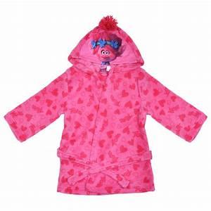 dreamworks trolls pink fleece dressing gown hearts girls With robe trolls