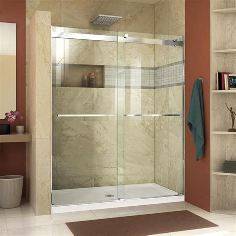 frameless shower glass shop dreamline essence 44 in to 48 in frameless chrome sliding shower door at lowes com