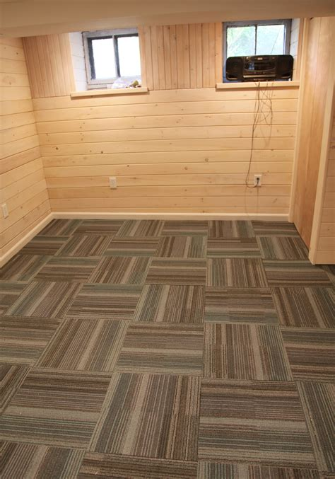 basement part  installing carpet tile stately kitsch