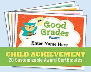 achievement certificates kids awards templates