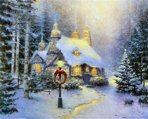 bungalow christmas house free kinkade wallpapers for desktop wallpaper cave