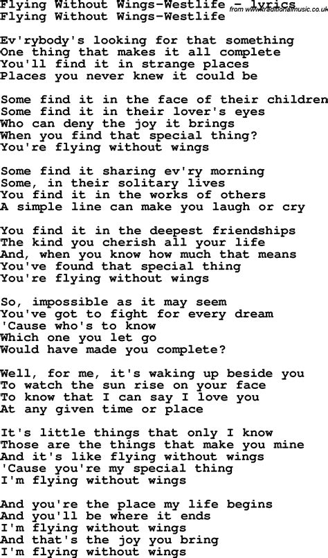 Don't say you love me. Love Song Lyrics for: Flying Without Wings-Westlife   Wings lyrics, Love songs lyrics, Flying ...