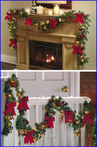 jingle bell holiday lighted christmas garland faux
