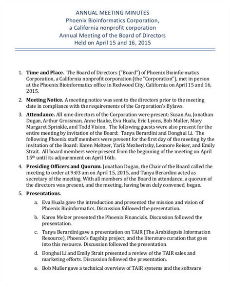 corporate annual meeting minutes sample annual meeting minutes template 9 free pdf documents