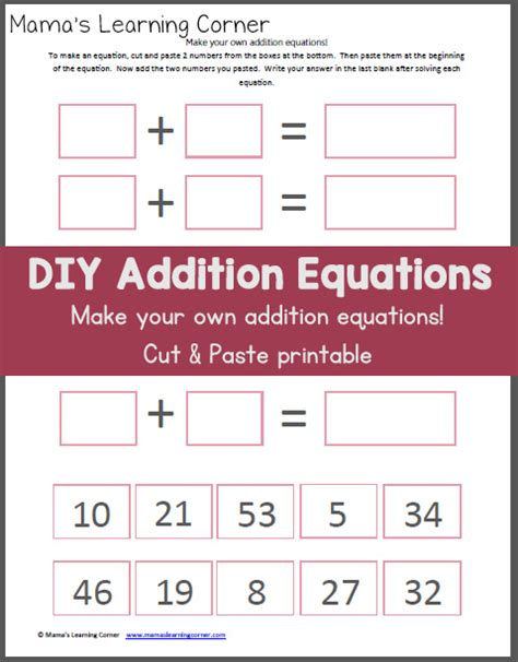 make your own addition worksheet cut paste mamas learning corner