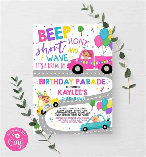 Editable Drive By Birthday Parade Invitation Drive Through