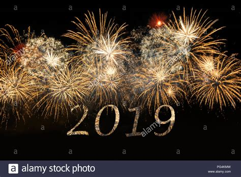 Happy New Year 2019 Celebration Colorful Fireworks. New
