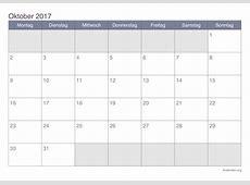 Kalender Oktober 2017 zum Ausdrucken iKalenderorg