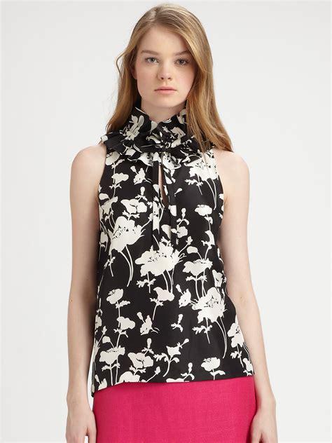 Lyst  Kate Spade New York Effie Silk Top In Black