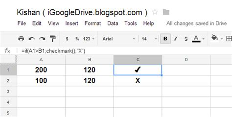 igoogledrive google spreadshet  type checkmark